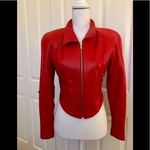 Vintage 1992 North Beach Leather Red Leather Suit